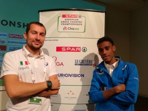Yohanes Chiappinelli e il tecnico Maurizio Cito ai Campionati Europei di cross