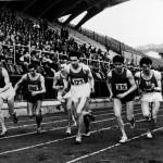 Mario Casini, n.85, in una gara in pista